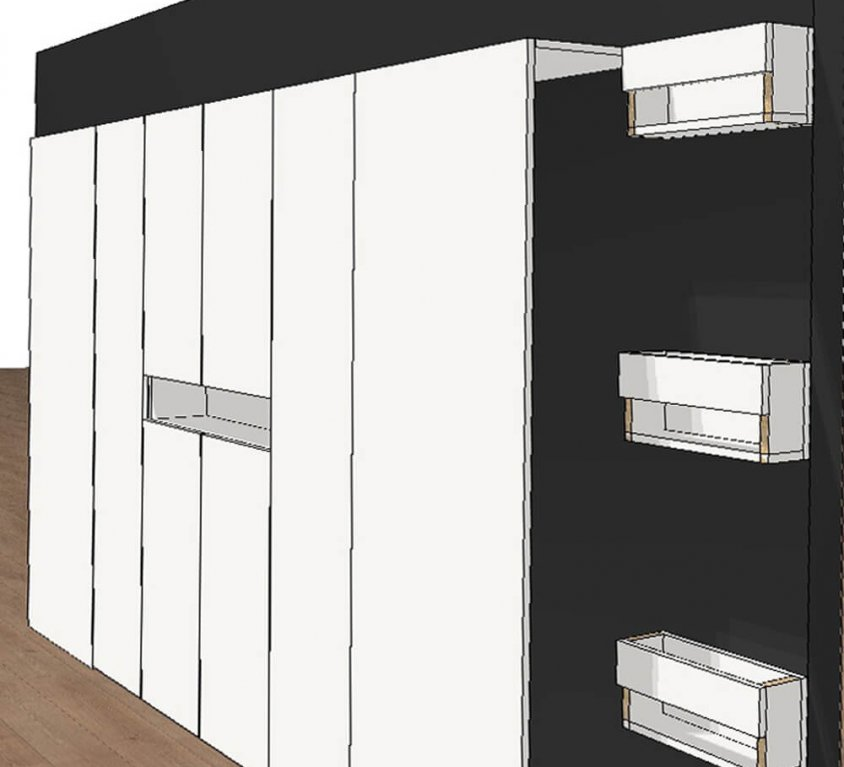 Platzsparende Garderobe